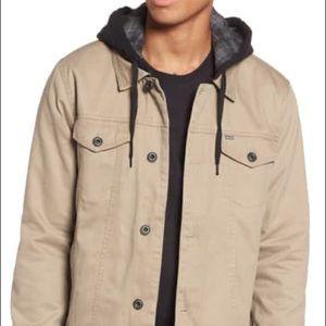 Hurley Men's Hooded Trucker Jacket Khaki Size XL